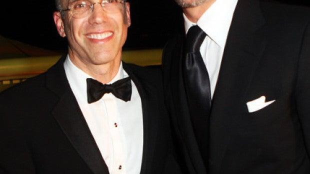 Jeffrey Katzenberg, director ejecutivo de DreamWorks, junto con Brad Pitt