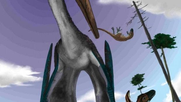 Un pterosaurio cazando