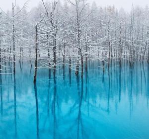 'El estanque azul' durante una de las primeras nevadas en el mes de noviembre.