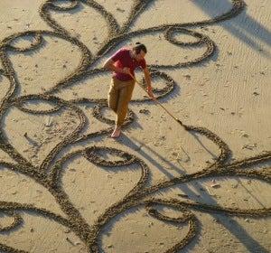Andrés Amador en la playa