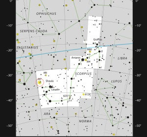 Mapa de la constelación de Escorpio