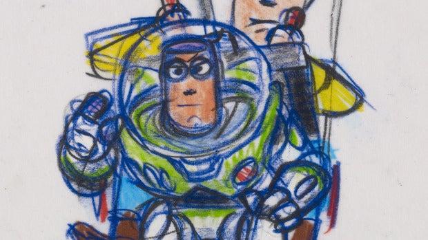 Woody y Buzz reproducción a rotulador