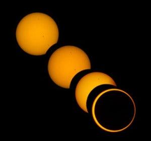Secuencia de un eclipse de Sol anular