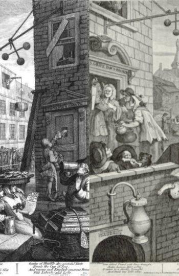 'Gin Lane'. Grabado de William Hogarth que muestra los estragos de la ginebra en el XVIII