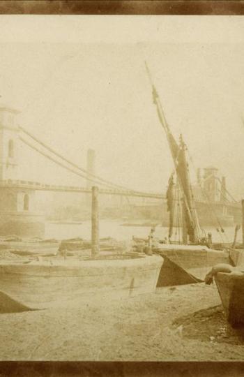 Fotografía de Wiliam Henry Fox del puente de Hungerford (1845)