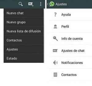 Menú de ajustes de Whatsapp