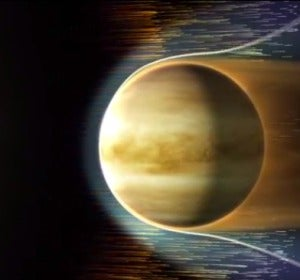 Tormenta solar asolando Venus