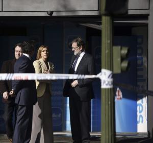 Rajoy y Cospedal en la sede del PP