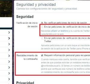 Seguridad en la cuenta de Twitter