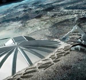 Robot con impresora 3D construyendo una base lunar