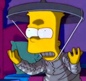 Bart Simpson, protegiéndose