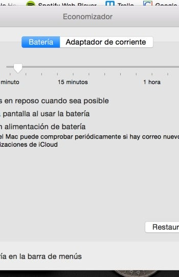 Ajustes de energía de OS X