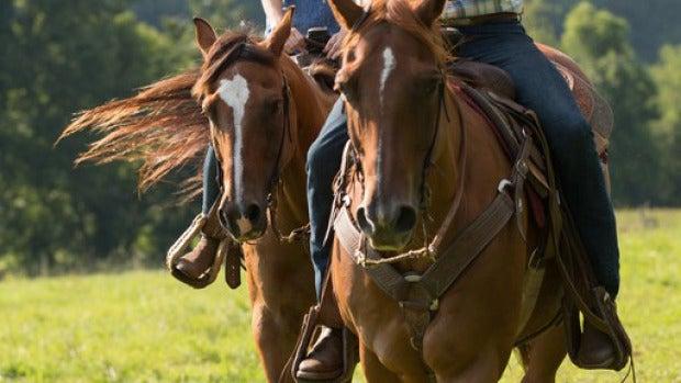 Los protagonistas montan a caballo