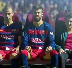 Una imagen del vídeo de seguridad de Qatar Airways con los jugadores del FC Barcelona