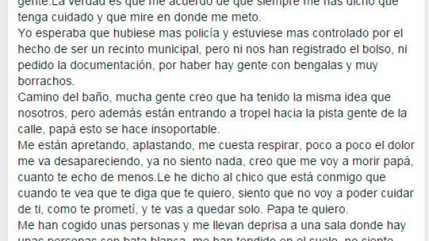 Carta de un padre a su hija víctima del Madrid Arena