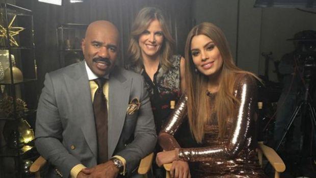 MIss Colombia, Ariadna Guitiérrez, y Steve harvey juntos