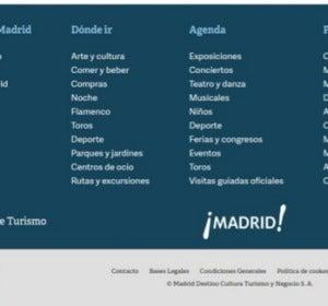 Página web de turismo de Madrid