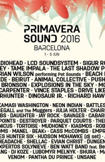 Cartel del Primavera Sound 2016