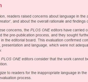 Comunicado de 'PLOS ONE' donde el equipo editorial pide disculpas