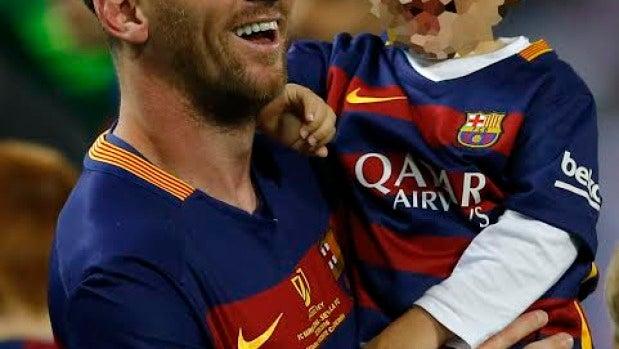 Leo Messi junto a su hijo, Thiago