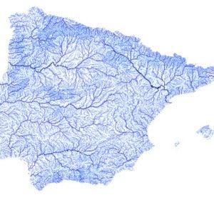 La península Ibérica y las Baleares, solo mostrando sus ríos