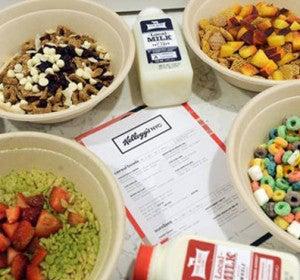 Cuencos de cereales del Kellogg's Café de Nueva York