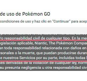 Condiciones de uso de Pokémon GO
