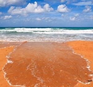 Arenas naranjas en la bahía de Ramla, en Malta