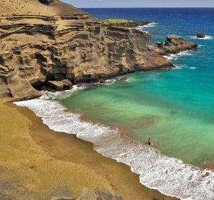 Papakolea, playa de origen volcánico en Hawái
