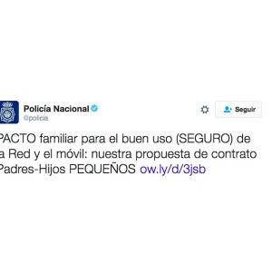 Captura de un tuit de la cuenta oficial de Twitter @policia