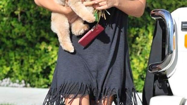 Ashley Tisdale no se separa de su perrito