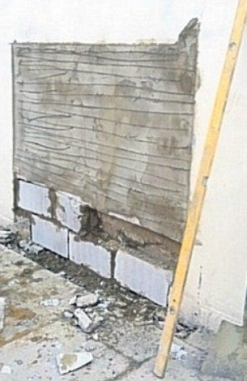 La pared después del robo