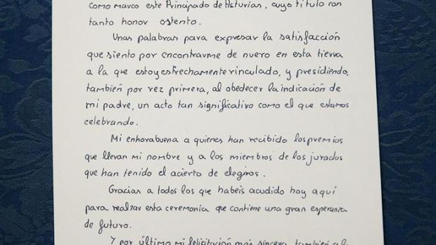 Manuscrito del primer discurso de Felipe VI en Oviedo en 1981