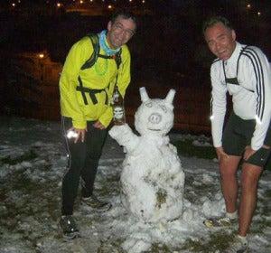 Muñeco de nieve en mitad del maratón