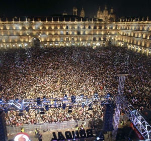 Plaza Mayor de Salamanca durante la Nochevieja universitaria