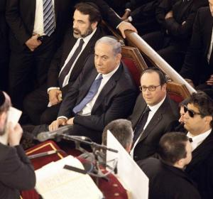 Hollande con Netanyahu en la Sinagoga