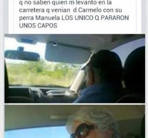 Fotografía que hizo a Mújica en el coche