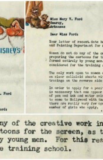 La carta que Disney envió a una dibujante para negarle trabajo en 1938
