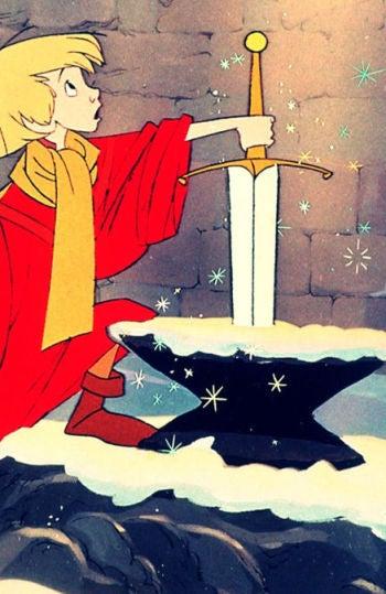 Arturo y su espada en 'Merlín, El Encantador'