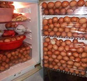La nevera llena de huevos