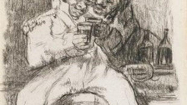 Dibujo de 'Un soldado francés con un compañero de copas', de Goya.