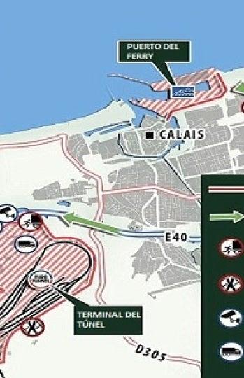 Mapa de la terminal del Eurotunnel en Calais