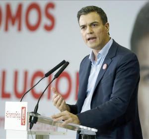 El líder de los socialistas durante un mitin