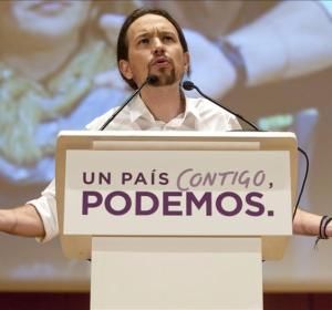 Pablo Iglesias en un acto de campaña en Málaga
