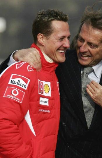 Schumacher y Montezemelo, en la presentación de un coche en Ferrari en 2006