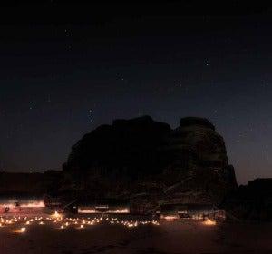 Desierto del Wadi Rum de noche