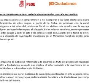 Página 67 del acuerdo de gobierno firmado entre PSOE y CIUDANOS.