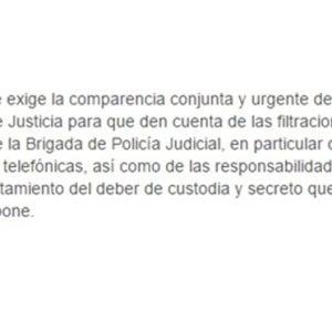 Comunicado del PP pidiendo la comparecencia de Caamaño