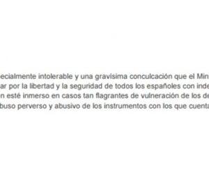 Comunicado del PP pidiendo la comparecencia de Rubalcaba