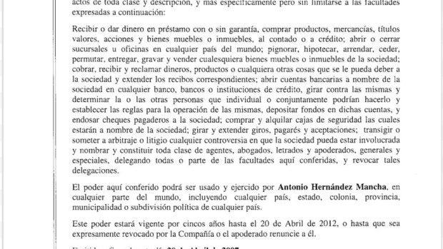 Poder notarial con el nombre y DNI de Antonio Hernández Mancha